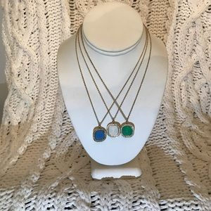 Jewelry - Cz. And Colored Stone Square Pendants and chains